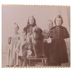 Five Beautiful Children and a Big Woolly Dog Cabinet Card Photo