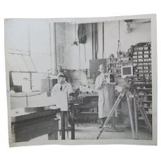 Sepia Toned Photograph Two Men in a Laboratory
