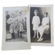 RPPC Two Real Photo Postcards Each With Two Little Girls