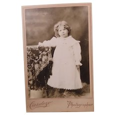 Cabinet Card Photograph Little Girl In Lacy Dress