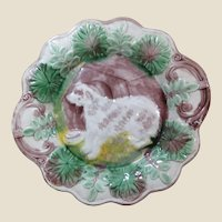 Majolica Dog and Dog House Cabinet Plate