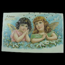Angels For Christmas Sweet Merry Christmas Angels Post Card Early 20th Century - Red Tag Sale Item