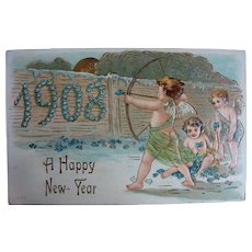 100 Years Old Happy New Year Post Card 1908 - Red Tag Sale Item