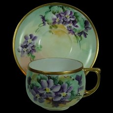American Hand Painted Porcelain Bounty Of Violets Heirloom Cup and Saucer Austria Edwardian Hand Painted