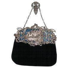 English Sterling Silver Velvet Edwardian Bag Chatelaine  Wm Comyns & Sons Ltd London