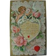 Valentine Post Card Unused Winged Cupid  Dove Hearts