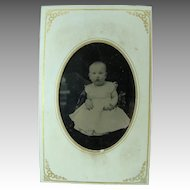 Tintype Photo Image Circa 1860's Hand Tinted Baby Picture