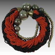 Tomato Red And Raven Black Bead Necklace