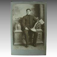 Mellophone Cabinet Card Photo Marching Band Horn Player Handsome