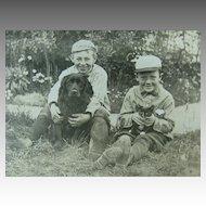 Dog Cat Two Boys Photo Post Card Circa 1910