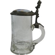 German Stein Etched Glass Porcelain and Pewter Stein Tankard