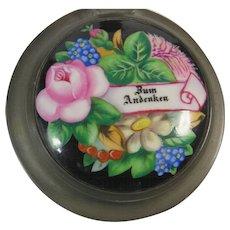 German Stein Zum Andenken Porcelain Lid Pressed Glass Pewter