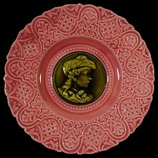 SOLD FRANCES Majolica Plate Pretty In Pink Portrait In Green PLUS PHOTO AT $7.00