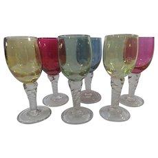 Rainbow Liqueurs Cordials Glasses Set Of 6 In Jewel Tones