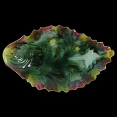 Majolica Pottery Leaf Dish Plate Rich Colors