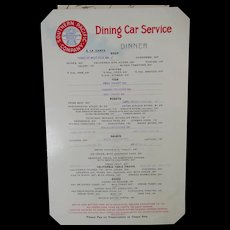 Dining Car Menu Southern Pacific Railroad Company