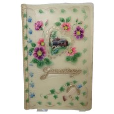 New Year Greeting Card Celluloid Early 20th c