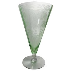 Cambridge Etched Iced Tea Glass 1930s Green Pattern Rosalie