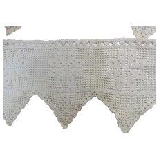 Filet Crochet 5ft 7in Of Window Valance White Vintage