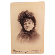 Edwardian Woman Plumes Fur and Spit Curls Photo