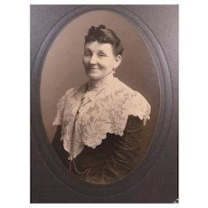 SOLD FRANCES Edwardian Woman Beautiful Dress Lace Collar Photo