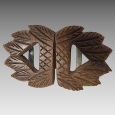 Carved Wood Dress Belt Buckle Circa 1930's Fashion