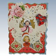 Valentine 1920 Paper Lace Hearts Flowers Sweet Child