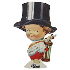 Valentine Mechanical Little Boy Tipping Hat Golf Clubs