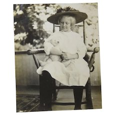 Photograph of Young Girl Rocking Chair Teddy Bear Circa 1910