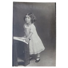 Studio Photo Image Pretty Little Girl Eyelet Dress Tiny Feet Circa 1910