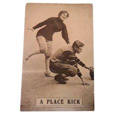 Football A Place Kick Woman 1910 Post Card