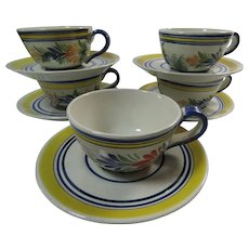 Henriot Quimper France 5 Five Sets Cups Saucers