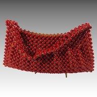 1950s Red Wooden Bead Clutch Handbag