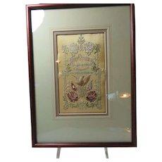 St. Louis 1904  Stitchery On Silk Panel Framed