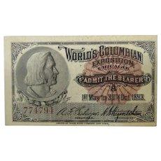 World's Columbian Exposition Admission Ticket Columbus 1893