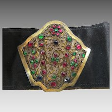 Belt Filigree Gilded Metal Encrusted With Richly Colored Stones