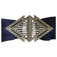 Art Deco Design Rhinestone Buckle On Dark Navy Ribbon - Red Tag Sale Item