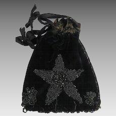 Antique Reticule Velvet Handbag Black Beading Restore