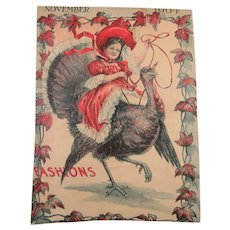 Happy Girl Riding A Turkey Illustration 1904 Oh My