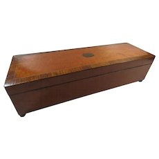 Early 20th C Key Wind Music Box Inlaid Wood Birdseye Maple