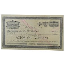 Stock Certificate Astor Oil Company 100 Shares 1901