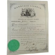 1868 Marriage License Rathbun to Cunningham Judge Darling