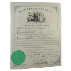 1868 Marriage License Rathbun to Cunningham Judge Darling