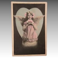 Angelic Tinted Card Beautiful Child Feathered Wings 1908