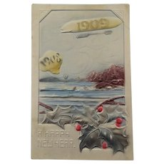 Out With 1908 In With 1909 Post Card Airship