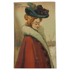 Mechanical Antique Post Card Tab Slide 1901-1915 Not Posted