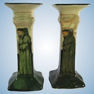 Royal Doulton Pair Noke Signed Candlesticks Series Ware