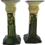 Royal Doulton Series Ware Candlesticks Pair Signed Noke