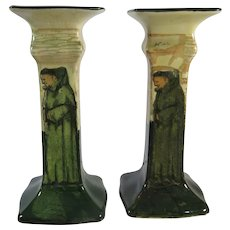 Royal Doulton Pair Candlesticks Series Ware Signed Noke