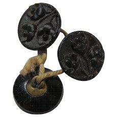 Three Glass Victorian Era Black Buttons